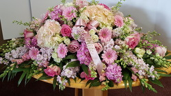 Sweet Pink Farewell Casket Spray from Lagana Florist in Middletown, CT