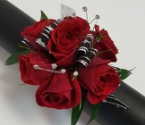 Bedazzled Red Wrist Corsage from Lagana Florist in Middletown, CT