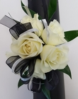 Black and Silver Wrist Corsage from Lagana Florist in Middletown, CT