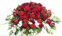 Crimson and White Casket Spray from Lagana Florist in Middletown, CT