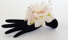 White and Pink Orchid Corsage from Lagana Florist in Middletown, CT