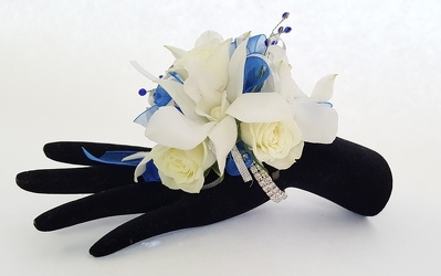 Fancy Royal Blue Combo Corsage from Lagana Florist in Middletown, CT