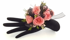 Bedazzled Pink and Black Corsage from Lagana Florist in Middletown, CT