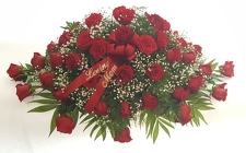 Red Rose Casket Spray from Lagana Florist in Middletown, CT