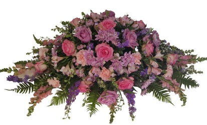 Lavender Pink Tribute Casket from Lagana Florist in Middletown, CT