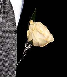 White Rose Boutonniere from Lagana Florist in Middletown, CT
